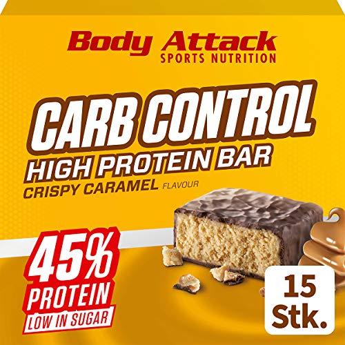 Body Attack Carb Control, Proteinriegel ohne Zuckerzusatz, Low Carb – High Protein, Eiweißriegel mit Whey, auch in der Mix-Box (Crispy Caramel, 15 x 100g)