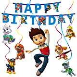 Espirales de rotor Paw Patrol set de decoración de cumpleaños, compacto, Happy Birthday, confeti, espiral, cadena para cumpleaños, fiesta, boda, fiesta de bebé, graduación