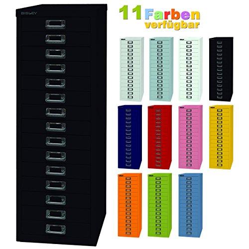 BISLEY ladekast 39 van metaal met 15 schuifladen, kast voor kantoor, werkplaats en thuis, stalen kast in 11 kleuren zwart