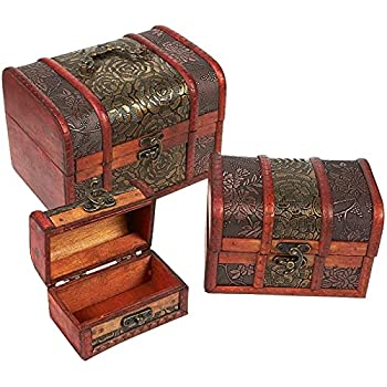 Set of 3 Wooden Treasure Chest Box Decorative Wood Storage Trunk for Pirate Jewelry Keepsake Toy Carved Flower