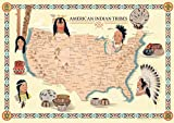 Riley Creative Solutions USA Native American Indian Tribes Map History Poster Territory Tribal Spirit Nation. Wall Art Home Decor (16'x23')