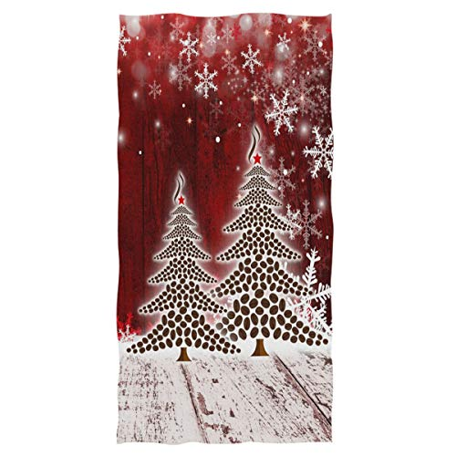 Christmas Tree with Snowflake Hand Towels 16x30 in Bathroom Towel, Retro Wooden Red Small Bath Towel Merry Christmas X-mas Bathroom Decor Gifts