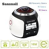 Sansnail V1à 360° Action Camera panoramique 2448* 2448à 30fps vidéo Ultra HD étanche Caméras Deportiva 4K Wifi Sport Cam Conduite VR Camera, blanc