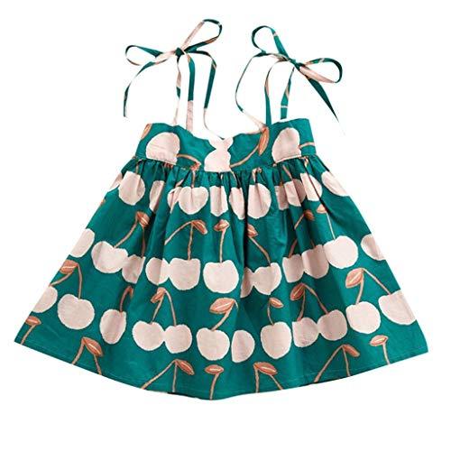 JUTOO Kleinkind Baby Kleinkind Mädchen Kinder ärmellose Litschi Bedruckte Riemen Prinzessin Kleid Kleidung (Grün,100)