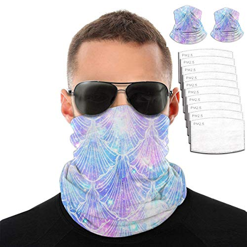 2 Pcs Scarf Bandanas Neck Gaiter with 10 PcsSafety Carbon Filters,Multi-Purpose Face Mask for Men Women Sports/Outdoors