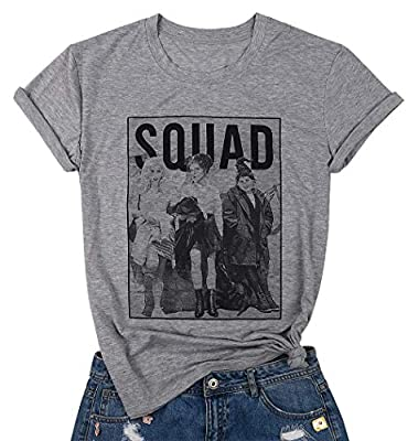Womens Halloween Squad T-Shirt Funny Sanderson Sisters Graphic Tee Top Shirts Grey?Grey,XXL?