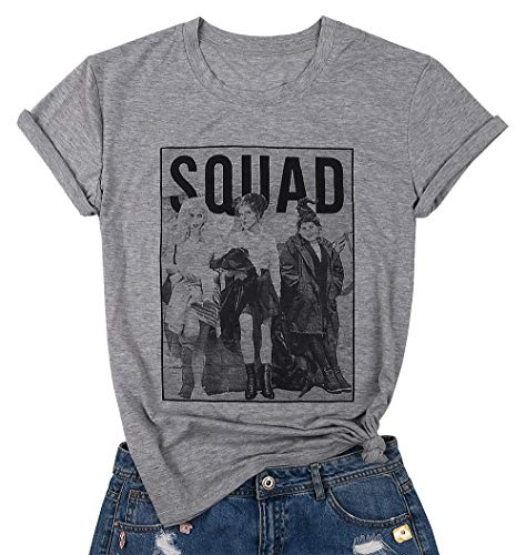 Womens Halloween Squad T-Shirt Funny Sanderson Sisters Graphic Tee Top Shirts Grey(Grey,M)