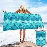 Quick Dry Microfiber Bath Towels 3D Watercolor Mermaid Scale...