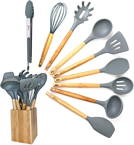 Kitchen Utensil Set - 10 Piece Cooking Utensil Set with Utensils Holder by Lively Home Goods - Nonstick Cookware Cooking Tool and Kitchen Gadget Set - Gray