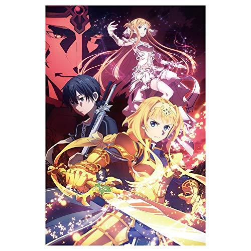 lunanana Anime Sword Art Online Poster- Yuuki Asuna Kirito Affiche Tableaux Mur Défilement Suspendu Peintures Art Peinture Mur Défilement Affiche, 60x40cm