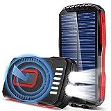 GRDE Powerbank 25000mAh QI Wireless Solar Power Bank 2 LED Taschenlampe(6W) 3 Ausgängen(2 USB+Qi)/3 Eingängen (Mikro USB+Typ-C+Solar) IP65 Wasserdicht Externer Akku