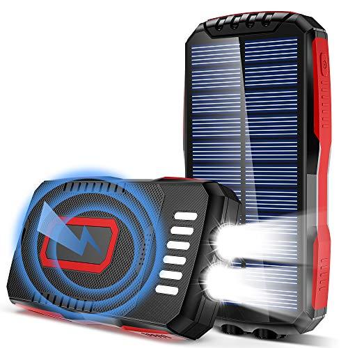 Cargador Solar Batería Exteriores IP65 Inteligente-Impermeable Power Bank Con 2 Linternas-Brillantes(6W) 3 Salidas Y 3 Entrada 4 Modo Cargador Móvil...