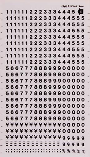 APLI DDB11F - Lettere e numeri trasferibili neri Numeri 4 mm Nero