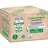 Love And Green - Pañales para bebé, talla 1: 2 – 5 kg, natural, hipoallergéni