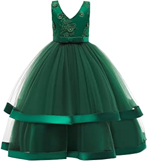 Weixinbuy Girls Dress Sleeveless V-Neck Floor-Length Wedding Party Evening Formal Pegeant Dance Gown Dresses