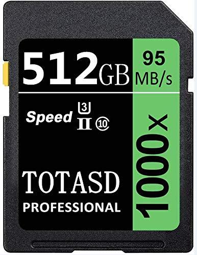 Speicherkarte, SD-Karte, TOTASD, 512 GB, SDXC SD Card UHS-II, Speicherkarte, U3 Geschwindigkeit bis zu 95 MB/s für DSLR-Kamera, HD Camcorder, Gold 3D Kamera (512 GB)