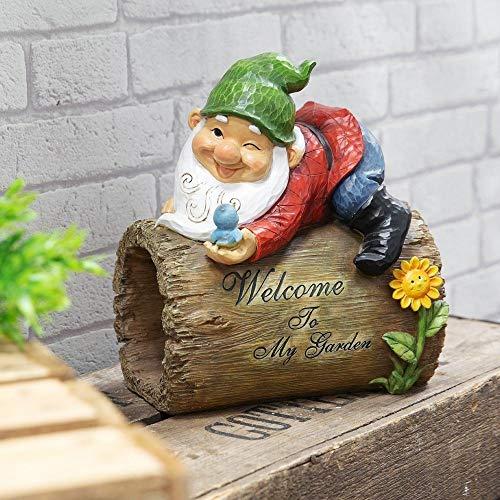 Señal de gnomo Country Living Garden – Welcome to My Garden – Gnomo tradicional de césped – resina de alta calidad