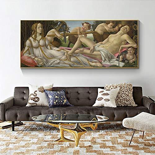 YuanMinglu Berühmte Meisterwerk Männer und Frauen und Kinder Leinwand Malerei Wandplakate und Druck Wandbilder, Wohnzimmer Home Decoration rahmenlose Malerei 60X120CM