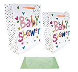 Baby Shower Gift Bags and Tissue Paper Wrap Large Medium 2 Pack for Mum to Be Party Occasion Unisex Colourful Flower Hearts Spotty Design Tag