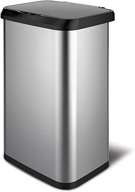 Amazon Com Glad Stainless Steel Sensor Trash Can With Clorox Odor Protection Touchless Metal Kitchen Garbage Bin With Soft Close Lid And Waste Bag Roll Holder 20 Gallon Home Kitchen