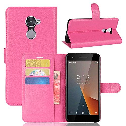 Guran® Funda de Cuero PU Para Vodafone Smart V8 Smartphone Función de Soporte con Ranura para Tarjetas Flip Case Cover Caso-rose red
