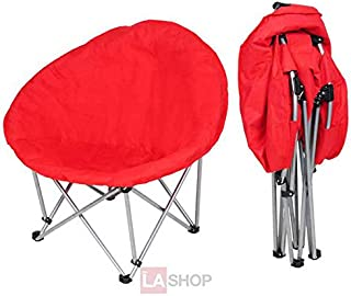 27x36x32 Inches Large Folding Padded Moon Chair 200lb Wt. Capacity Red w/ 600D PVC Polyester & Hollow Cotton for Comfort Lounge Bedroom Garden Furniture Seat
