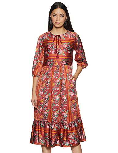 AND Women's Synthetic A-Line Midi Dress