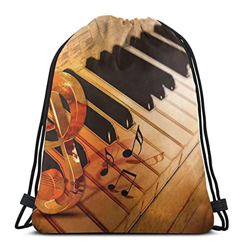 Lmtt Kordelzug Taschen Jazz Piano Keys Rucksack Pull String Taschen Bulk Sports Storage Gym für Frauen Outdoor Camping Picknicks Rucksack als Bild