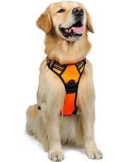 Rabbitgoo 犬 ハーネス 大型犬24-56KG 胴輪 ソフト 首輪 簡単着脱 調節可能 歩行補助 引っ張り防止 咳き込み軽減 散歩 出かけ用 反射材 ハンドル付き 安全 通気 (オレンジ)