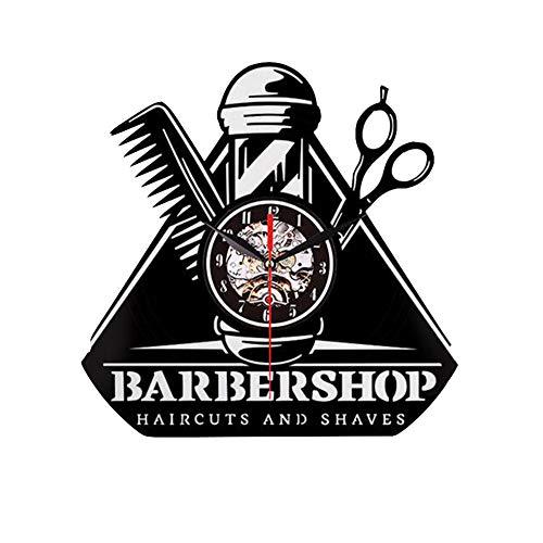 CHENG Disque Vinyle Horloge Barber Shop Outils 7 Couleurs LED Mur Lumières Horloge Murale en Vinyle Décor À La Maison avec Télécommande,Black