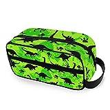 QMIN Bolsa de aseo portátil con estampado de huellas de dinosaurios, bolsa de viaje, multifunción, bolsa de maquillaje, bolsa de almacenamiento para niños, niñas, mujeres y hombres