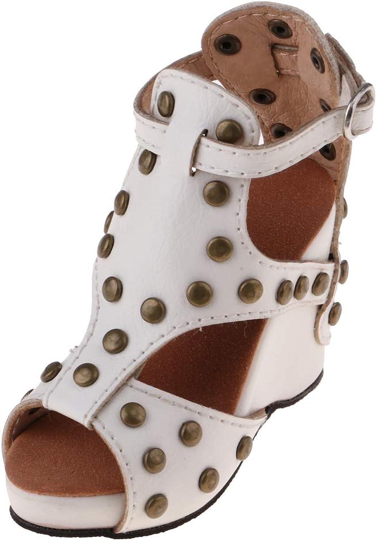 Baoblaze Elegant Peep-Toe Rivet shoes White Wedge Sandals for 1 3 BJD Dollfie DOD LUTS Party  Wedding  Casual Outfit