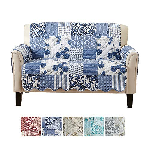 Great Bay Home Patchwork Scalloped Printed Furniture Protector. Stain Resistant Loveseat Cover. (Loveseat, Navy)
