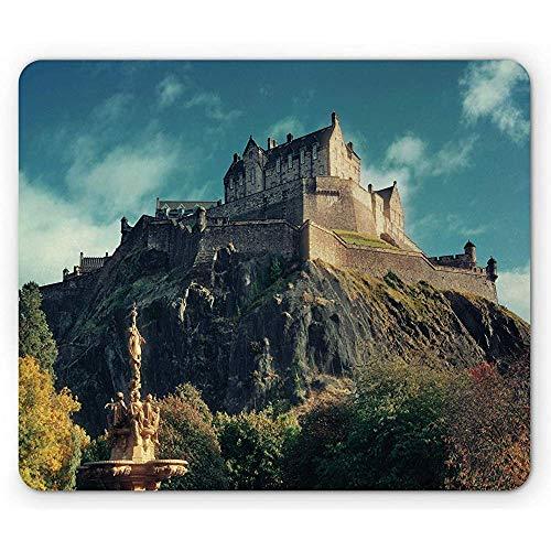 Edinburgh-Mausunterlage,Europäisches Markstein-Foto Mit Berühmtem Schloss Auf Felsen-Klippen Mit Brunnen Großbritannien,Rutschfestes Gummi-Mousepad des Rechtecks