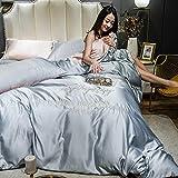 Lace Jacquard Duvet Cover,Satin Bedding Sets Double Blue Satin Silk Duvet Cover Sets Sapphire Blue Soft Silky 4 Piece Bedding Set Solid Color Shiny Vibrant Comforter Cover Set-J_1.8m Bed(4pcs)
