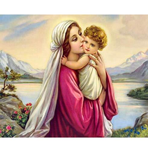 Diy 5D Jesús Virgen María Icono Diamante Pintura Punto De Cruz Aficiones Manualidades Religión Diamante Mosaico Bordado Decoración Del Hogar-30x40cm