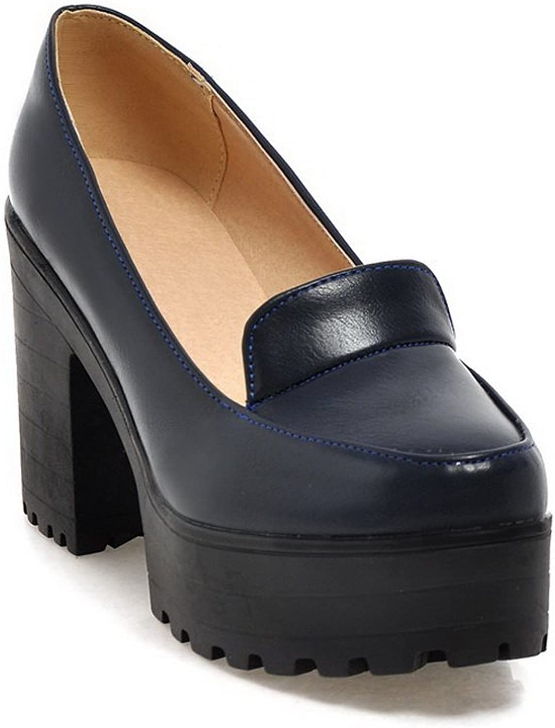 A&N Womens Chunky Heels Platform Low-Cut Uppers Urethane Oxfords shoes