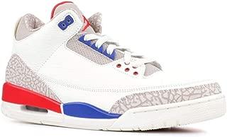 Jordan Nike Mens Air 3 Retro Powder White/Fire Red-Cement Grey Leather Basketball Shoes (12.5 D(M) US, Sail/Sport Royal-Light Bone)