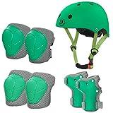 LANOVAGEAR Casco Infantil Set de Protección Casco 2-8 años Ajustable Rodilleras, Coderas y Muñequeras para Patinar Ciclismo Monopatín y Deportes Extremos (Verde, S)