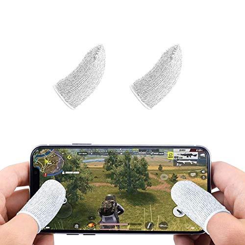 Funda de dedo para juegos móviles, pantalla táctil de dedo transpirable antisudor sensible para disparar y apuntar llaves para reglas de supervivencia/cuchillos hacia fuera para Android y iOS (blanco)