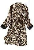 FTYUNWE Pijama cómodo, regalo de cumpleaños para esposa y madre, juego de pijama de satén para mujer, ropa de dormir de 4 piezas, cárdigan de seda, vestido de leopardo, talla asiática