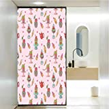 Static Cling Stained Glass Film Window, Ice Cream Decor Retro Cupcakes Teapots Candies Cookies on...