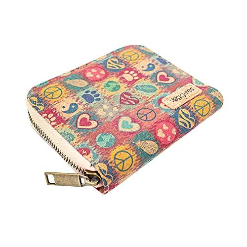Veggees ® Mini Peacie - veganes Portemonnaie aus Kork, Klein, Zero Waste, Münzfach, RFID-Schutz Geldbörse für Damen, Portmonee, nachhaltig