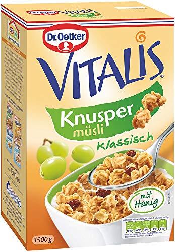 Dr. Oetker Vitalis Knuspermüsli klassisch, Großpackung knuspriges Frühstücksmüsli mit Rosinenung (1 x 1,5kg)