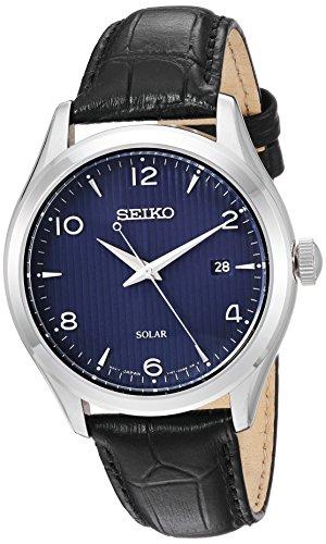 Seiko Relógio masculino de aço inoxidável quartzo japonês com pulseira de couro de bezerro, preto, 20,5 (modelo: SNE491)