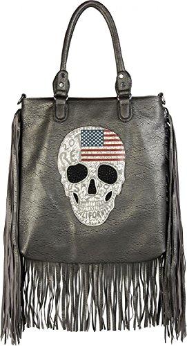 styleBREAKER Handtasche mit USA Design Totenkopf, schwarzem Strass und Langen Fransen, Umhängetasche, Damen 02012064, Farbe:Antik-Dunkelgrau