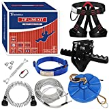 Trsmima Zipline Kit for Backyards - 98ft Zip Line for Kids and Adults - Backyard Kids Zipline Kits with Safety Harness and Stainless Steel - Spring Brake Trolley and Seat for Extra Safety