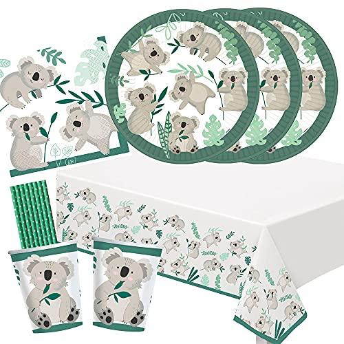 spielum Set de fiesta de 41 piezas Koala, platos, vasos, servilletas, mantel, pajitas de papel para 8 niños