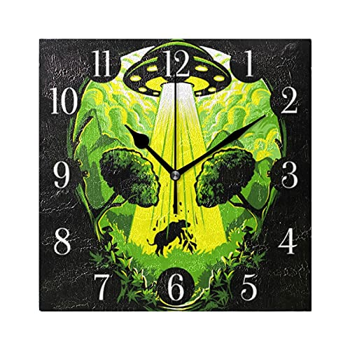 Taikale UFO Alien Cow Wall Clock Silent Non Ticking Hanging Square Wall Clocks Decorative Clocks Battery Operated Wall Clock Creative Clock Dual-Purpose Clock for Kitchen Home Office School
