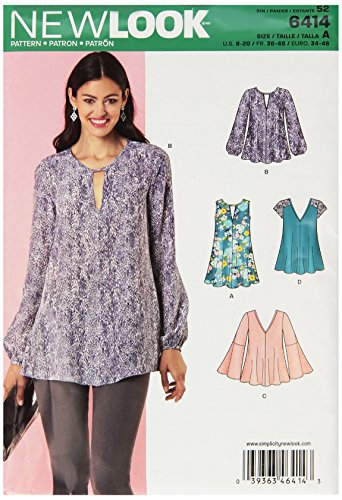 New Look Patterns Misses' Tunic and Top with Neckline Variations Size: A (8-10-12-14-16-18-20), 6414